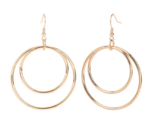 Whispers Double Circles Dangle Earrings