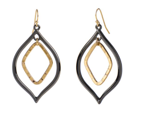 Whispers Mixed Metal Pointed Tear Drop Earrings