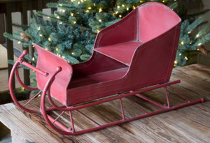 Vintage Red Metal Sleigh