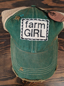 Farm Girl on Green Hat