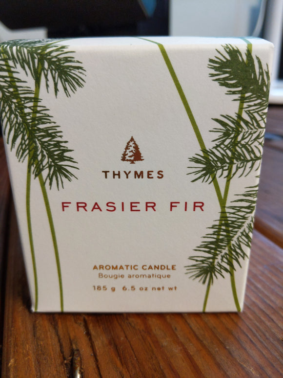 Frasier Fir Pine Needle Design Glass Candle