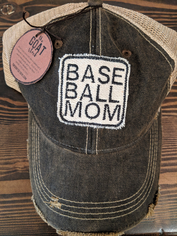 Base Ball Mom on Black Hat