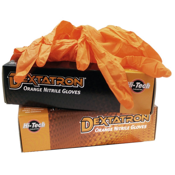 Dextatron Orange Disposable Nitrile Gloves – Medium - 100/bx-Gloves-Hi Tech Industries-49008