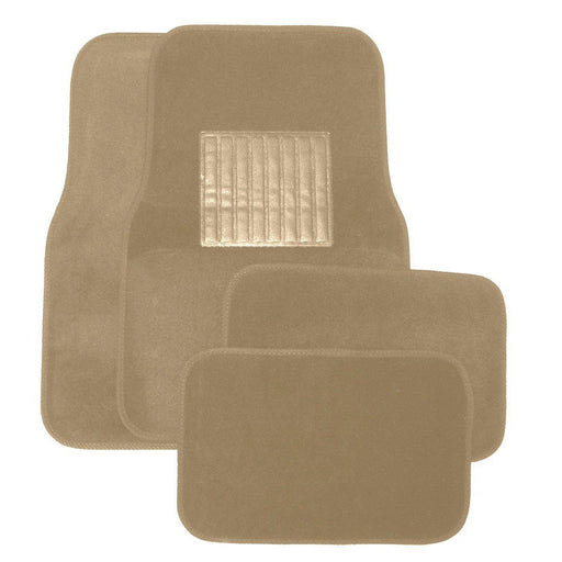 Deluxe 4 Pc. Carpet Mat Set w/ Heel Pad & Nib Back - Beige-Floor Mats & Accessories-Hi Tech Industries-9216