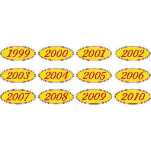Year Oval-Red/Yellow-2010 Dozen/Pack