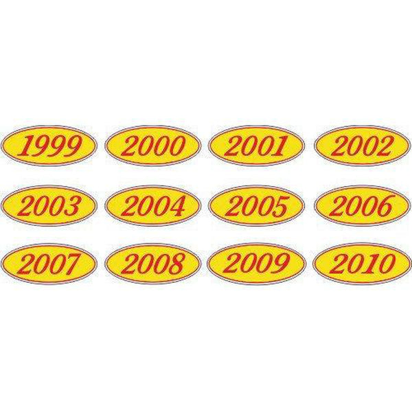 Year Oval-Red/Yellow-2003 Dozen/Pack