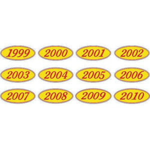 Year Oval-Red/Yellow-2007 Dozen/Pack-Peel and Stick Windshield Numbers, Ovals & Slogans-Hi Tech Industries-OVRY-07