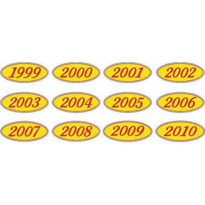 Year Oval-Red/Yellow-2009 Dozen/Pack-Peel and Stick Windshield Numbers, Ovals & Slogans-Hi Tech Industries-OVRY-09