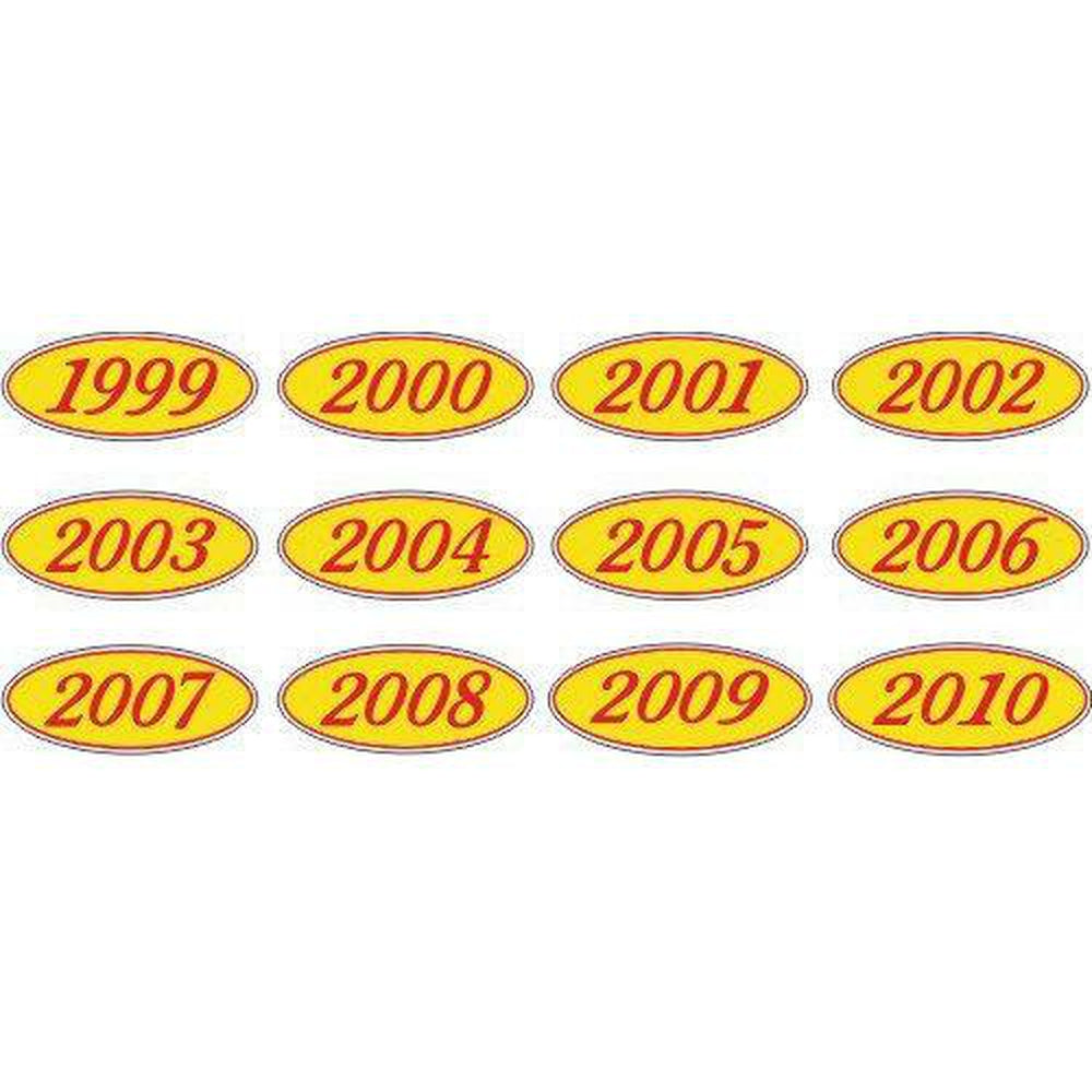 Year Oval-Red/Yellow-2008 Dozen/Pack-Peel and Stick Windshield Numbers, Ovals & Slogans-Hi Tech Industries-OVRY-08