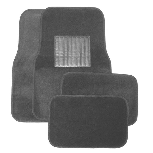 Deluxe 4 Pc. Carpet Mat Set w/ Heel Pad & Nib Back - Gray-Floor Mats & Accessories-Hi Tech Industries-9221
