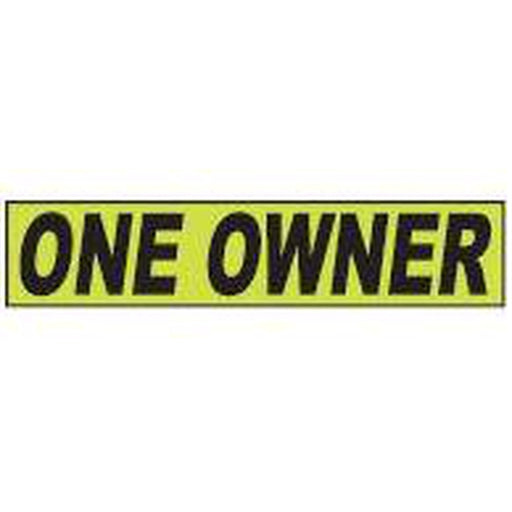 "Shadow Slogan-""One Owner"" Dozen/Pack-Peel and Stick Windshield Numbers, Ovals & Slogans-Hi Tech Industries-SSFGK-84"