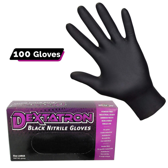 Dextatron Powder Free Black Disposable Nitrile Gloves, 100/BX (Medium)
