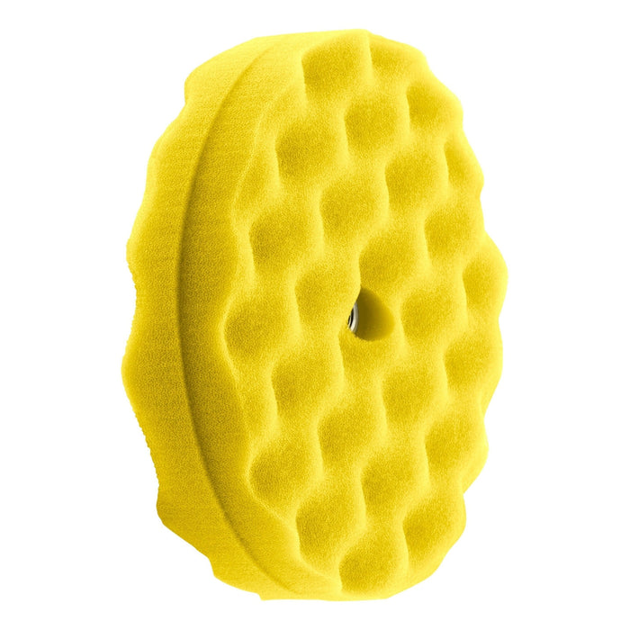 "Double Sided Waffle Foam Buffing Pads 8""-Hi-Buff® Foam Pads-Hi Tech Industries-Yellow Medium Cut-HB 220XW"