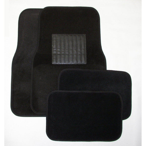 Deluxe 4 Pc. Carpet Mat Set w/ Heel Pad & Nib Back - Black-Floor Mats & Accessories-Hi Tech Industries-9202