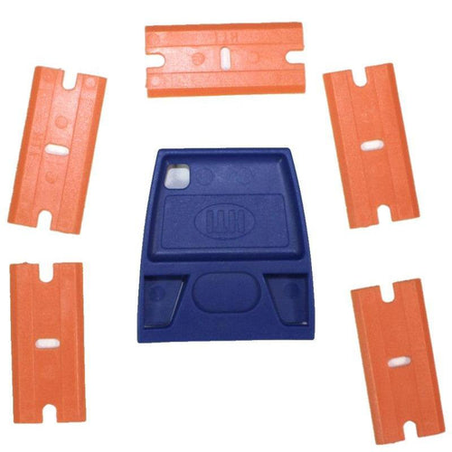 Mini-Scraper / Double Edge Plastic Blade Holder w/ 5 Blades