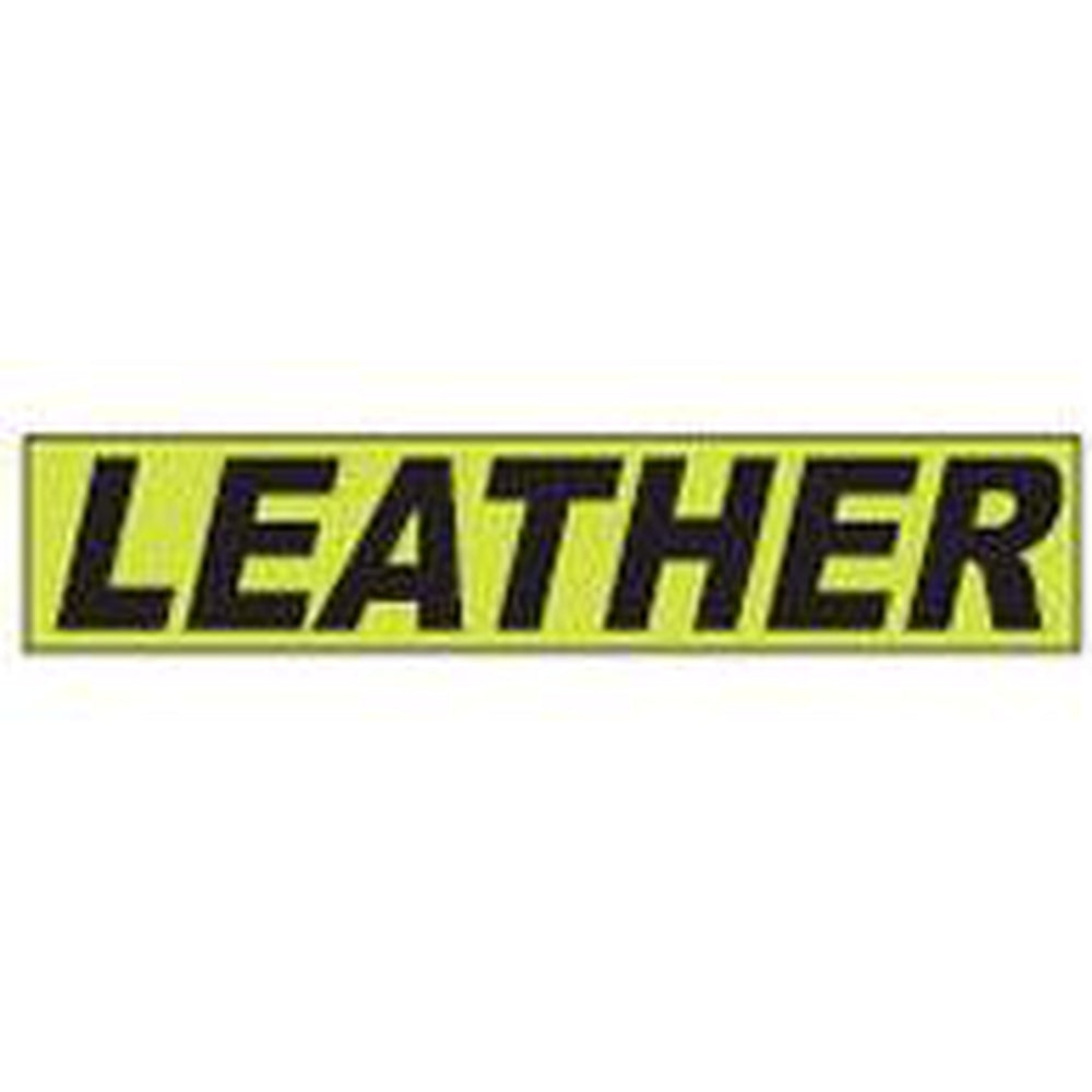 "Shadow Slogan-""Leather"" Dozen/Pack-Peel and Stick Windshield Numbers, Ovals & Slogans-Hi Tech Industries-SSFGK-64"