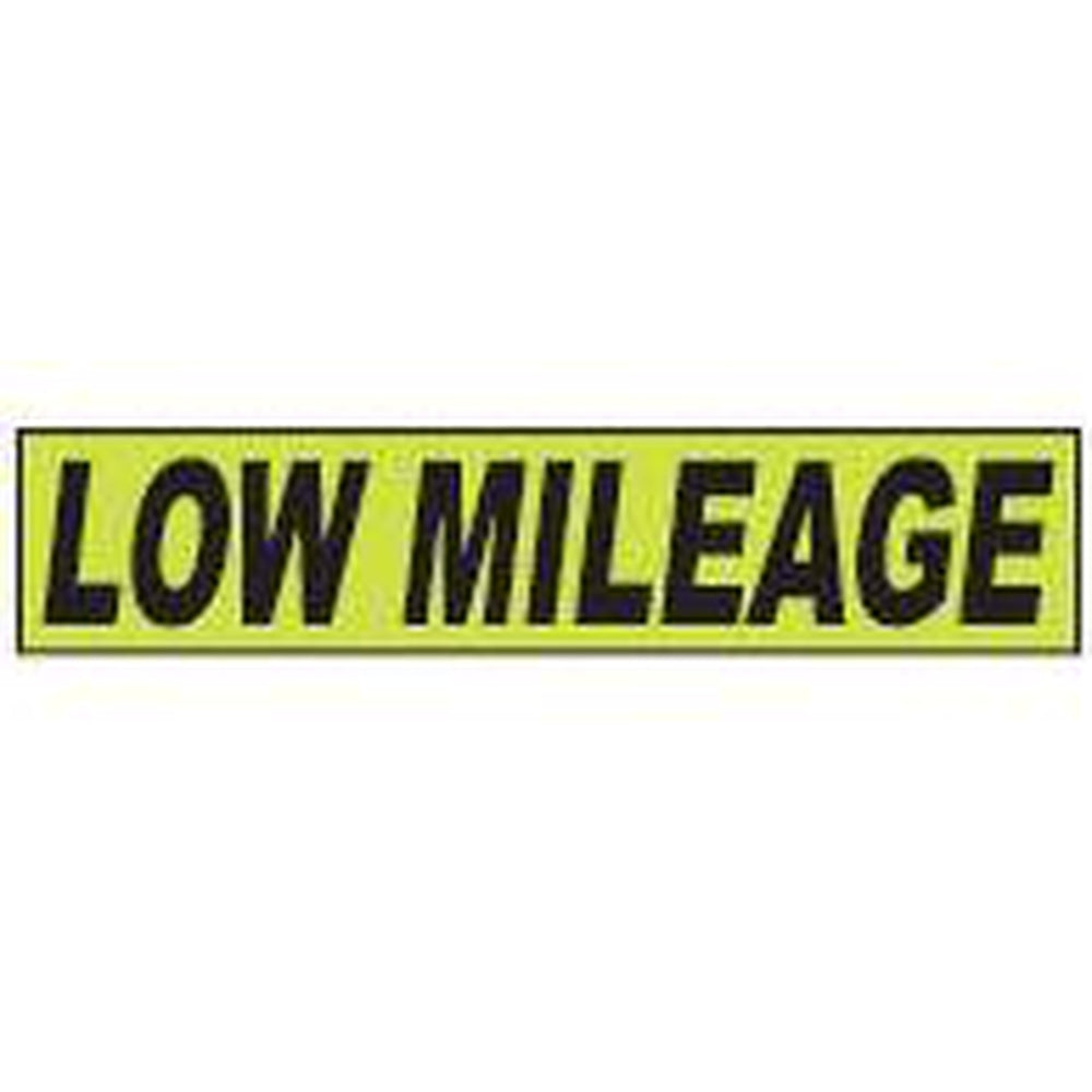 "Shadow Slogan-""Low Mileage"" Dozen/Pack-Peel and Stick Windshield Numbers, Ovals & Slogans-Hi Tech Industries-SSFGK-72"