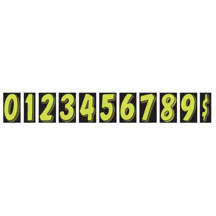 "Windshield Number Decals 7.5"" Fluorescent Green 12/pk-Peel and Stick Windshield Numbers, Ovals & Slogans-Hi Tech Industries-"