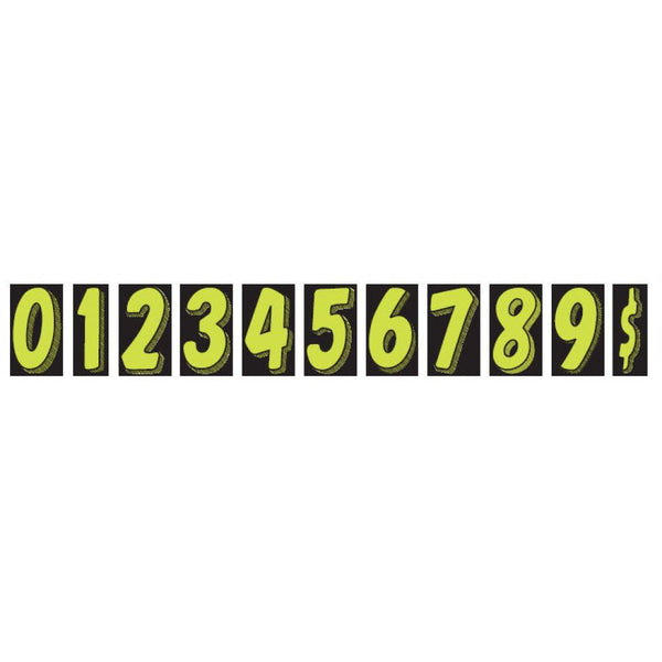 "Windshield Number Decals 7.5"" Fluorescent Green 12/pk"