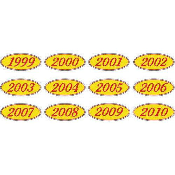 Year Oval-Red/Yellow-2012 Dozen/Pack-Peel and Stick Windshield Numbers, Ovals & Slogans-Hi Tech Industries-OVRY-12