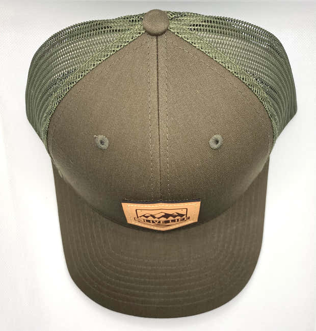 Leather Badge Life Trucker in Loden 1