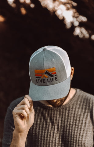 Retro Life Grey And White Trucker Hat - Live Life Clothing Co