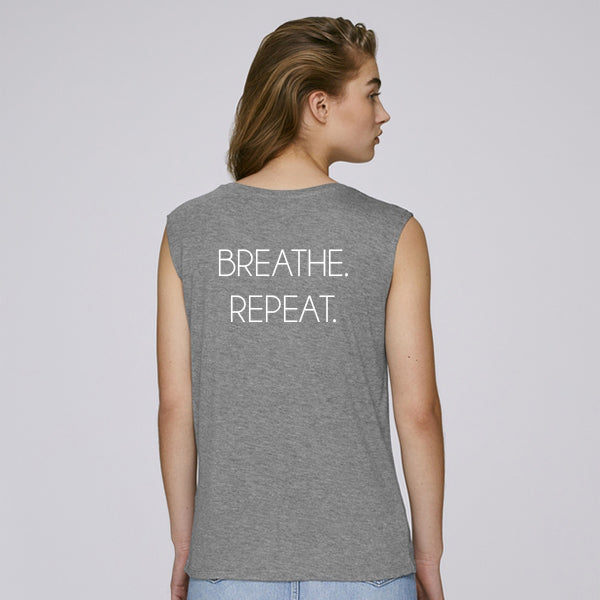 BREATHE. REPEAT. sleeveless tee grey is made out of 100% modal, soft and keeps you cool during activity. Great for both training & leisure.