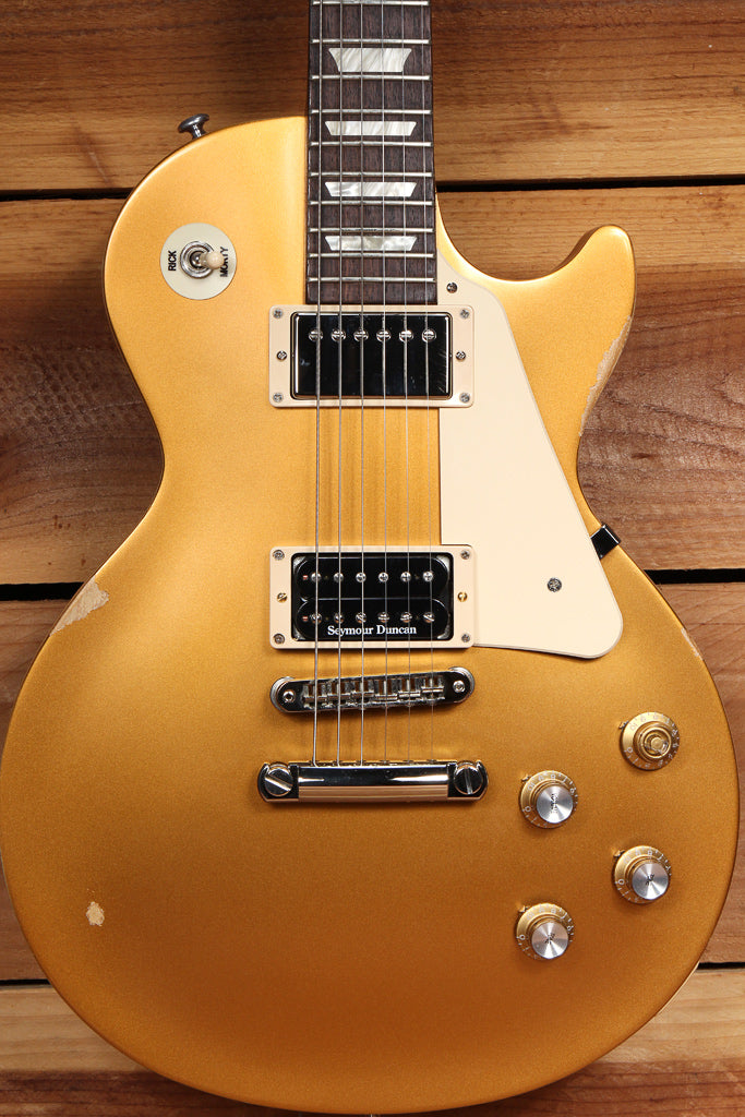 GIBSON 2018 LES PAUL 60s TRIBUTE T Goldtop Worn Satin USA Relic Gold Top 11191