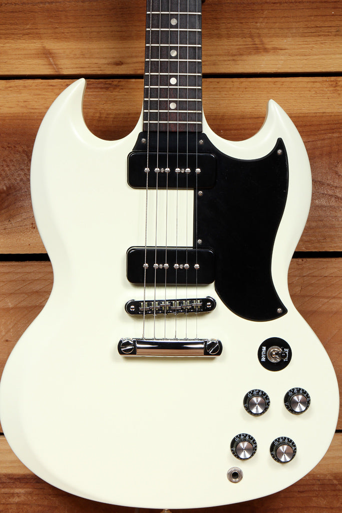 GIBSON SG SPECIAL 60s TRIBUTE WORN WHITE Satin Dual P90s +Bag Super Clean! 10678