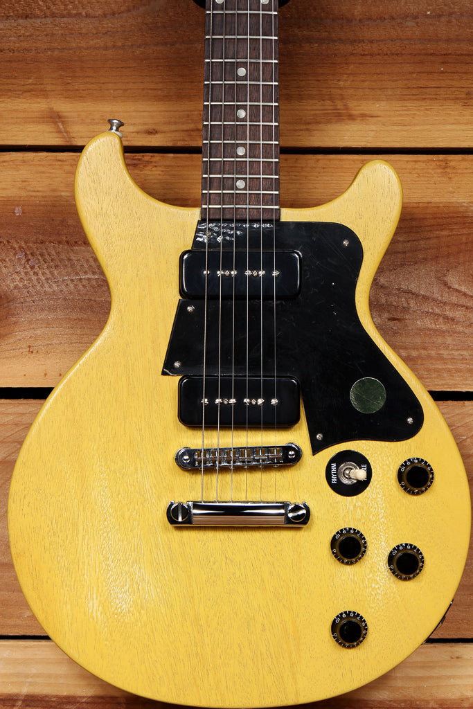 GIBSON LES PAUL Junior SPECIAL Double Cutaway Cut TV Yellow Faded Worn Relic P90 23381