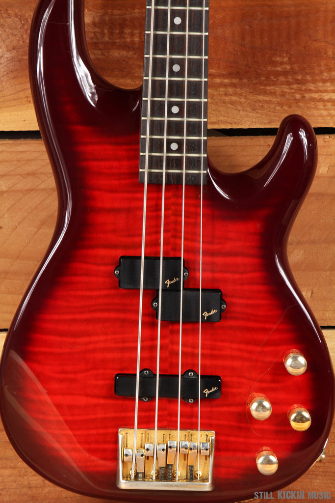 FENDER LYTE PRECISION BASS + OHSC MIJ 1993 Cherry Flame P J Active 7lbs 7oz 7364