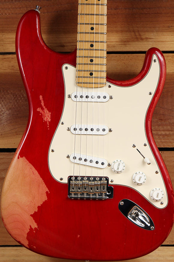 FENDER USA American STRATOCASTER RED RELIC Killer Faded Satin Worn Strat 1495