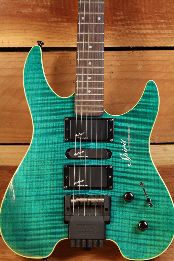 STEINBERGER SPIRIT GU DELUXE Headless Electric Guitar Green Flame Top +Bag 1926