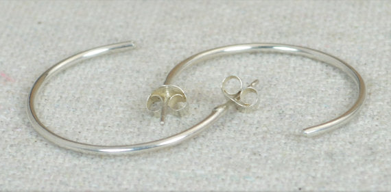 Sterling Silver Hoop Earrings, Silver Open Hoop Earrings, Silver Earrings, Simple Earrings, Open Round Earrings, Sterling Silver, Open Hoops