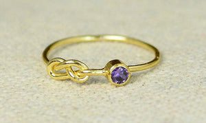 Amethyst Infinity Gold Filled Ring