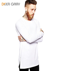 Cotton T shirts Men Long Sleeve Side Zipper Design - ajevans online retail Men, Women, Children