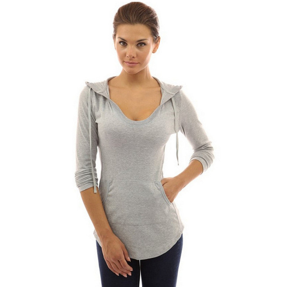 High Quality Women T-shirt Long Sleeve Pullovers With Pocket - ajevans online retail Men, Women, Children