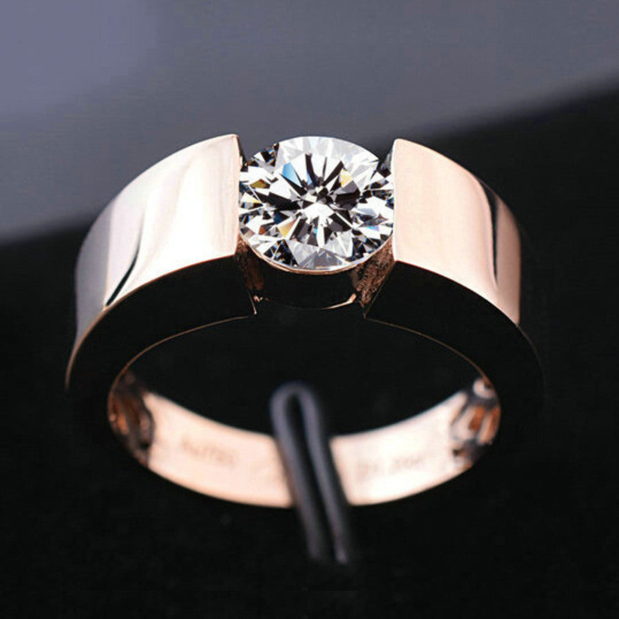 Classic Engagement Ring 18K Real Rose Gold Plated - ajevans online retail Men, Women, Children