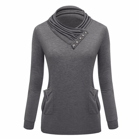 Casual Women Big Pocket Turtleneck Collar Sweatshirt With Hood - ajevans online retail Men, Women, Children