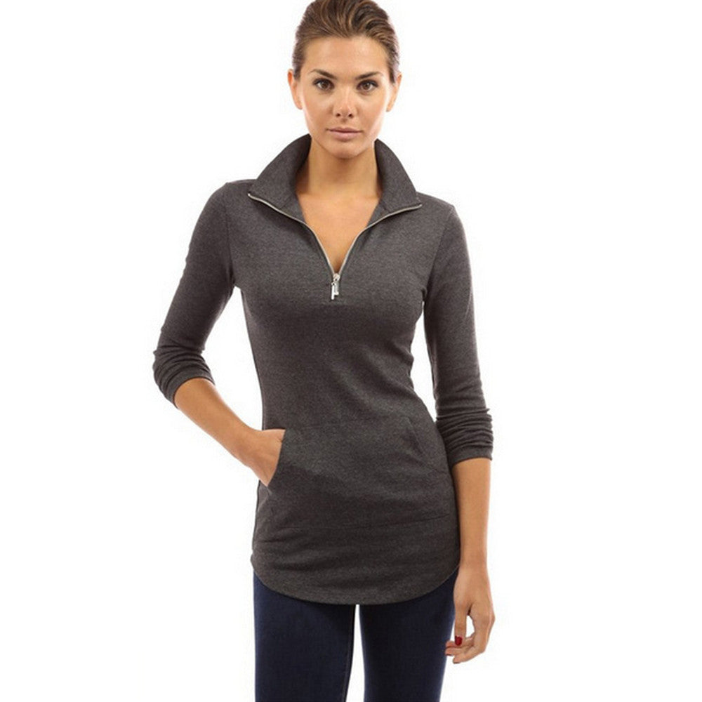 High Quality Women T-shirt Solid Long Sleeve V-neck - ajevans online retail Men, Women, Children