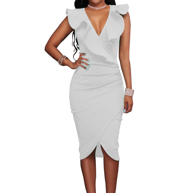 Pencil Bodycon Dress Deep V Neck Ruffles - ajevans online retail Men, Women, Children