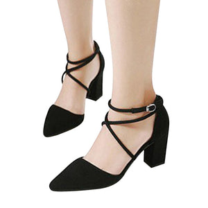 HEE GRAND Cross-tied Square High Heels - ajevans online retail Men, Women, Children