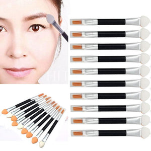 10Pcs Makeup Double-end Eye Shadow Eyeliner Brush  Sponge Lip Brush Set - ajevans online retail Men, Women, Children