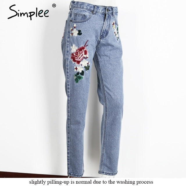 Simplee Floral embroidery jeans - ajevans online retail Men, Women, Children