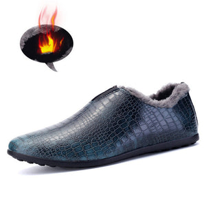 Fur Inner Mens Loafers Luxury Shoes Crocodile Style - ajevans online retail Men, Women, Children