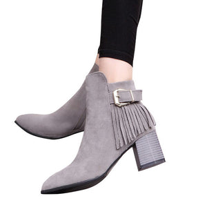 HEE GRAND Fringe Zipper Women Ankle Boots Faux Suede - ajevans online retail Men, Women, Children