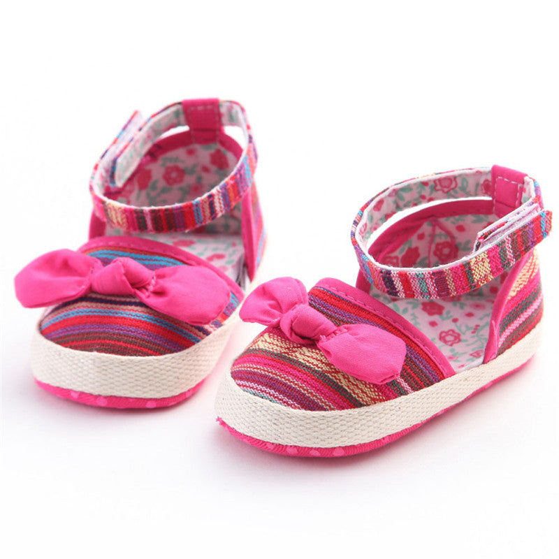 Newborn Baby Girls Rainbow Striped Print Shoes - ajevans online retail Men, Women, Children