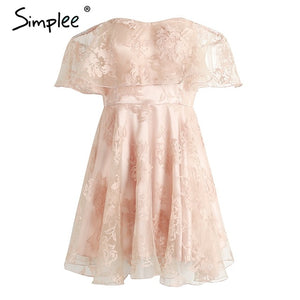 Simplee Off shoulder flower mesh summer dress women - ajevans online retail Men, Women, Children