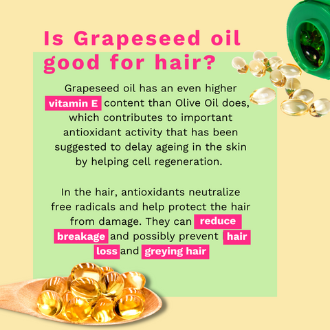 Infrographic explaining that Grapeseed Oil is good for the hair due to its antioxidants that neutralize free radicals and help protect the hair from damage.