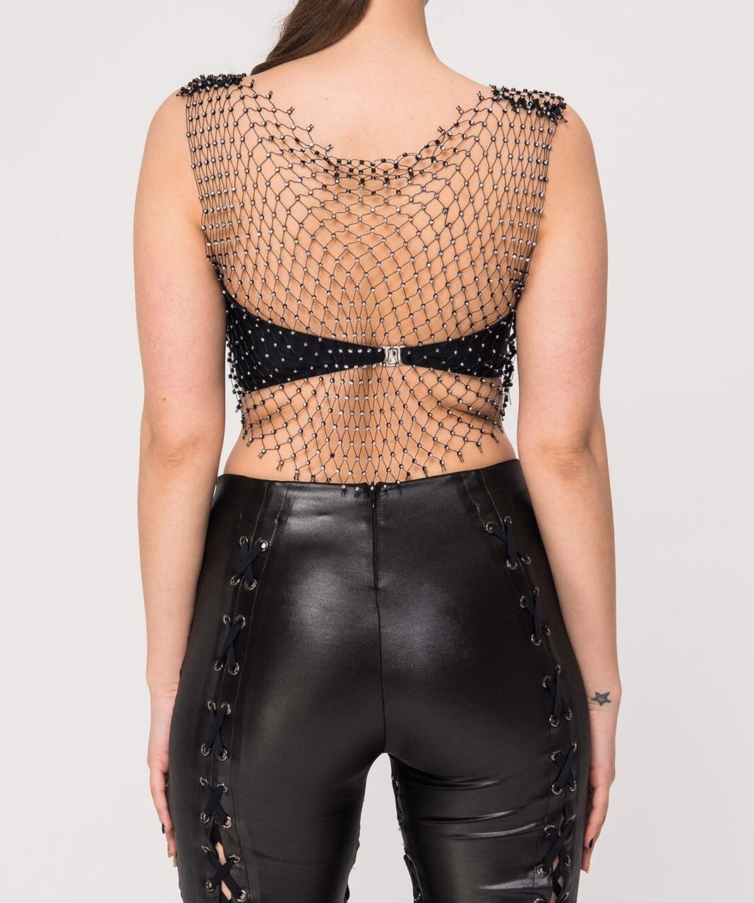 fishnet and diamanté Crop Top-Womens Clothing, back view.  sexy and unapologetic.